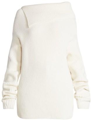Nina Ricci Asymmetric Ribbed Wool & Cashmere Mockneck Sweater