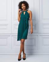 Le Château Knit Halter Neck Ruffle Cocktail Dress
