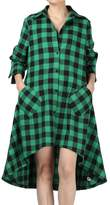 Minibee Women's Plaid Irregular Hem Casual T-Shirt Long Sleeve Dress S