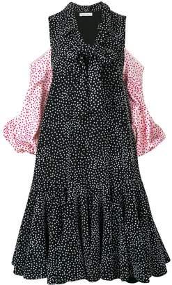 J.W.Anderson black flocked polka dot puff sleeve dress