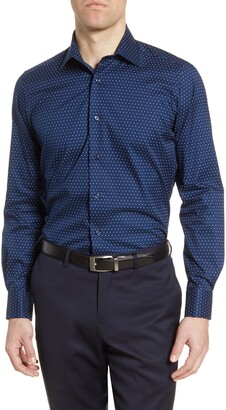 David Donahue Multi Dot Trim Fit Dress Shirt