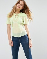 Asos Sheer Tea Blouse with Scallop Detail