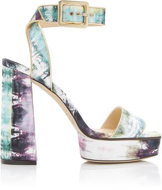 Jimmy Choo Jax Tie-Dye Leather Platform Sandals