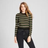 Mossimo Women's Striped Crop Pullover Black