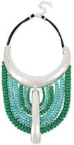 """Robert Lee Morris Soho Silver-Tone Beaded Leather Statement Necklace, 15-1/2"""" + 3"""" extender"""