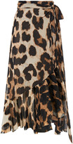 Thumbnail for your product : Ganni Ruffled Floral-print Stretch-mesh Midi Wrap Skirt