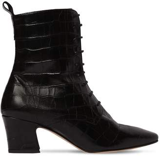 Miista 55MM ZELIE CROC EMBOSSED LEATHER BOOTS
