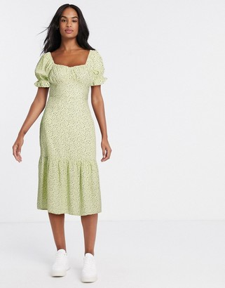 Influence tiered spot tea dress with gathered sleeves