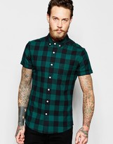 Asos Skinny Shirt With Buffalo Plaid In Green With Short Sleeves