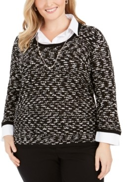 Alfred Dunner Plus Size Well Red Layered-Look Sweater