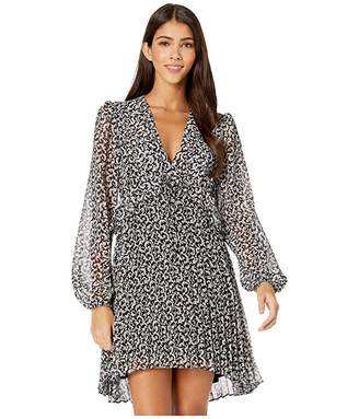 The Kooples Long-Sleeved, Short Dress with Pleated Skirt in a Baroque Print (Black/Light Grey) Women's Clothing