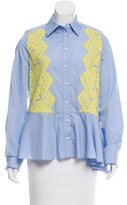 Preen Lace-Accented Button-Up Top
