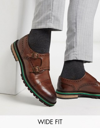 Silver Street wide fit hanson monk shoe in brown leather