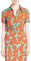 Diane von Furstenberg Women's Print Stretch Silk Shirt