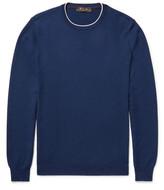 Loro Piana Contrast-Tipped Waffle-Knit Cashmere Sweater