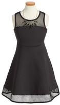 Iris & Ivy Girl's Mesh Scuba Fit & Flare Dress