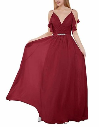 Leader of the Beauty Women Grape Strapless V Neck Bridesmaid Long Dresses Chiffon for Evening Gowns UK18