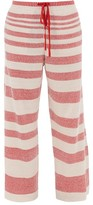 Loewe Jacquard-striped Linen-blend Track Pants - Mens - Beige Multi