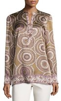 Lafayette 148 New York Dunham Long-Sleeve Medallion-Print Silk Blouse, Chai Multi, Plus Size