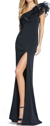Mac Duggal One-Shoulder Ruffle Sheath Gown