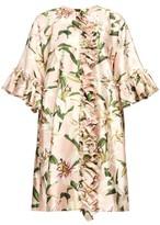 Dolce & Gabbana Ruffled Lilium-print Shantung Coat - Womens - Pink Multi
