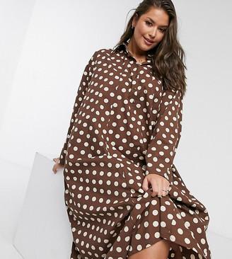Verona Curve high neck maxi shirt dress in chocolate spot