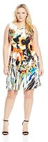 Gabby Skye Women's Plus-Size Abstract Floral Printed Fit-and-Flare Dress