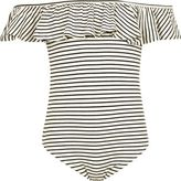 River Island Girls Black stripe ruffle bardot bodysuit