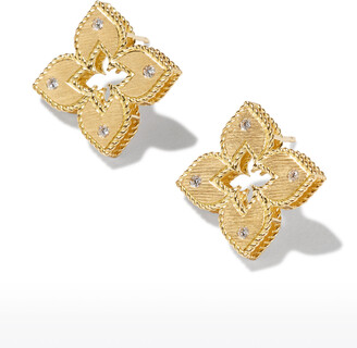 Roberto Coin Venetian Princess 18k Diamond Open Flower Stud Earrings