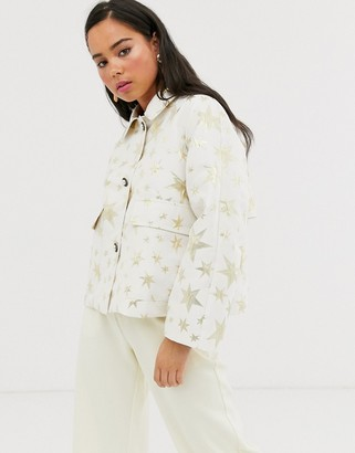 Sister Jane trucker jacket with contrast leopard lining in gold star print
