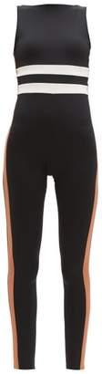 Vaara Edie Striped Technical-jersey Bodysuit - Womens - Black Brown Multi