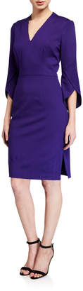 Trina Turk Ponte V-Neck Slit-Sleeve Sheath Dress