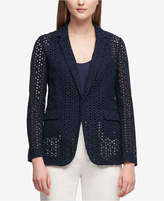 DKNY Cotton One-Button Eyelet Blazer, Created for Macy's