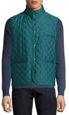 Isaia Reversible Quilted Leather Vest