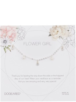 Dogeared Sterling Silver Flowergirl 3mm Pearl Charm Necklace