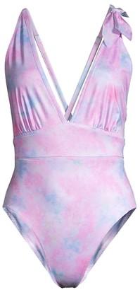 LoveShackFancy Millicent Tie-Dye Plunge One-Piece Swimsuit