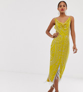 Asos DESIGN Tall cowl neck midi dress in allover embellishment with fringe hem