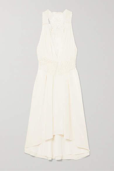 Asymmetric Lace Trimmed Silk Chifffon Dress White
