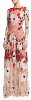Naeem Khan Floral Embroidered Long-Sleeve Gown, Pink/Multicolor