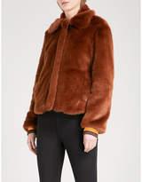 Sandro Ladies Brown Modern Striped-Trim Faux-Fur Jacket