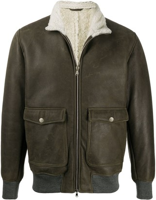 Barba Shearling-Lined Leather Bomber Jacket