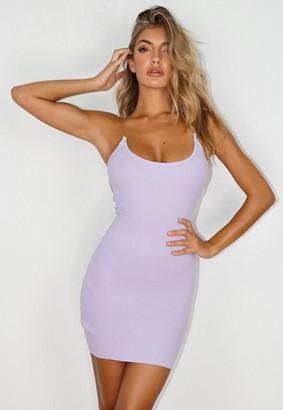 Missguided Lilac Transparent Strap Knit Mini Dress