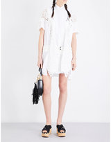 Sacai Floral-lace and poplin shirt dress