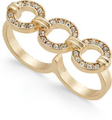 Thalia Sodi Gold-Tone Crystal Circle Two-Finger Ring, Only at Macy's