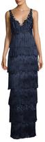 Marchesa Embroidered Fringe Trim Gown
