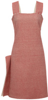 Calvin Klein Collection Red Hand Woven Japanese Cotton Tweed Sleeveless Dress