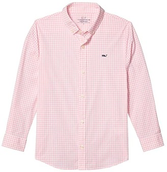 Vineyard Vines Kids Arawak Gingham Performance Shirt (Toddler/Little Kids/Big Kids) (Deep Bay) Boy's Clothing
