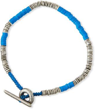 M. Cohen Men's Sterling Silver & Bead Disc Bracelet, Blue
