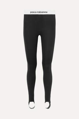 Paco Rabanne Printed Stretch-jersey Stirrup Leggings - Black
