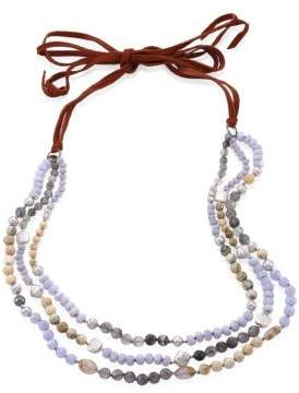 Chan Luu 5-10MM Freshwater Pearl& Blue Lace Agate Multi-Layer Necklace